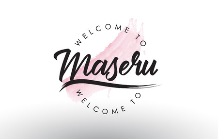 Maseru Welcome to Text with Watercolor Pink Brush Stroke Vector Illustration.