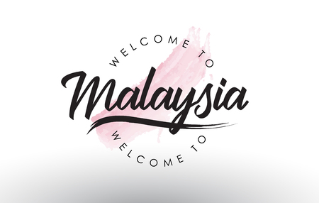 Malaysia Welcome to Text with Watercolor Pink Brush Stroke Vector Illustration. Çizim