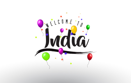 India Welcome to Text with Colorful Balloons and Stars Design Vector Illustration. 일러스트