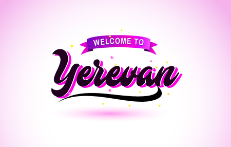 Yerevan Welcome to Creative Text Handwritten Font with Purple Pink Colors Design Vector Illustration.