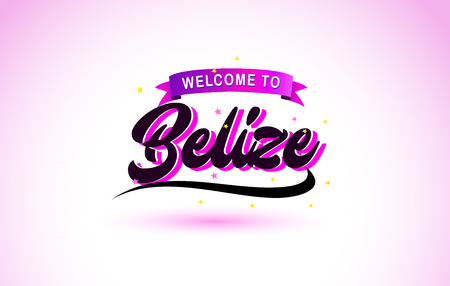 Belize Welcome to Creative Text Handwritten Font with Purple Pink Colors Design Vector Illustration.