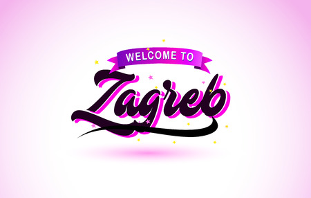 Zagreb Welcome to Creative Text Handwritten Font with Purple Pink Colors Design Vector Illustration. 矢量图像