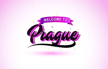 Prague Welcome to Creative Text Handwritten Font with Purple Pink Colors Design Vector Illustration.