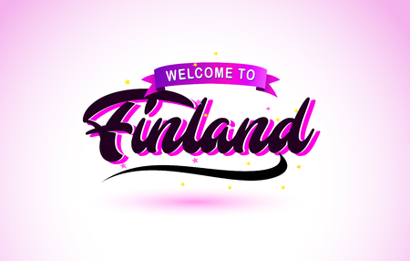 Finland Welcome to Creative Text Handwritten Font with Purple Pink Colors Design Vector Illustration.
