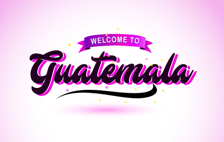 Guatemala Welcome to Creative Text Handwritten Font with Purple Pink Colors Design Vector Illustration.