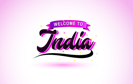 India Welcome to Creative Text Handwritten Font with Purple Pink Colors Design Vector Illustration.