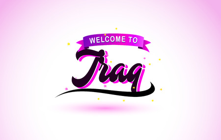 Iraq Welcome to Creative Text Handwritten Font with Purple Pink Colors Design Vector Illustration.