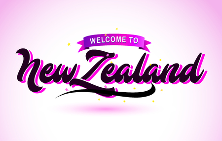 NewZealand Welcome to Creative Text Handwritten Font with Purple Pink Colors Design Vector Illustration.