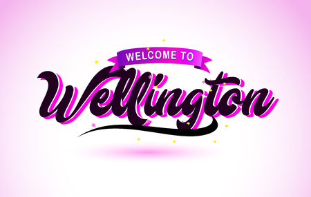 Wellington Welcome to Creative Text Handwritten Font with Purple Pink Colors Design Vector Illustration. Ilustração