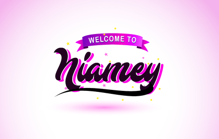 Niamey Welcome to Creative Text Handwritten Font with Purple Pink Colors Design Vector Illustration.