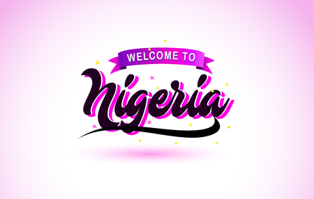 Nigeria Welcome to Creative Text Handwritten Font with Purple Pink Colors Design Vector Illustration.