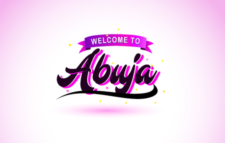 Abuja Welcome to Creative Text Handwritten Font with Purple Pink Colors Design Vector Illustration. Ilustração