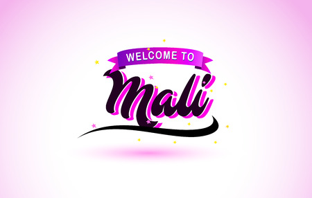 Mali Welcome to Creative Text Handwritten Font with Purple Pink Colors Design Vector Illustration.