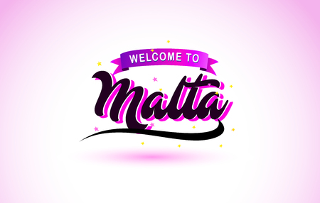 Malta Welcome to Creative Text Handwritten Font with Purple Pink Colors Design Vector Illustration.