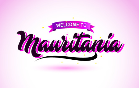 Mauritania Welcome to Creative Text Handwritten Font with Purple Pink Colors Design Vector Illustration. Ilustração