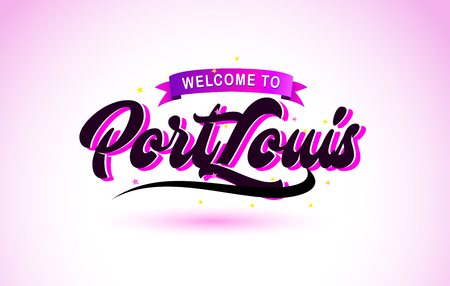 PortLouis Welcome to Creative Text Handwritten Font with Purple Pink Colors Design Vector Illustration. Ilustração
