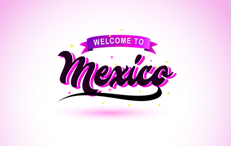Mexico Welcome to Creative Text Handwritten Font with Purple Pink Colors Design Vector Illustration. Ilustração