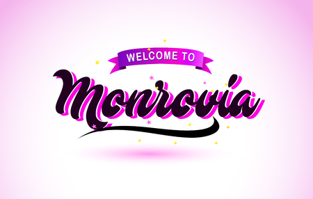 Monrovia Welcome to Creative Text Handwritten Font with Purple Pink Colors Design Vector Illustration. Ilustração