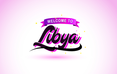 Libya Welcome to Creative Text Handwritten Font with Purple Pink Colors Design Vector Illustration. Ilustração