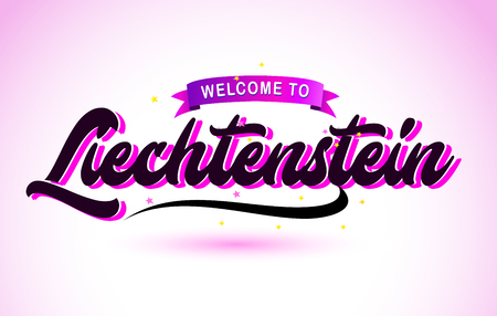 Liechtenstein Welcome to Creative Text Handwritten Font with Purple Pink Colors Design Vector Illustration.