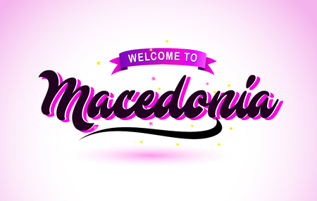 Macedonia Welcome to Creative Text Handwritten Font with Purple Pink Colors Design Vector Illustration. Ilustração