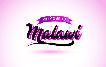 Malawi Welcome to Creative Text Handwritten Font with Purple Pink Colors Design Vector Illustration.