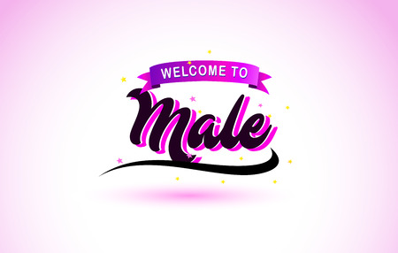 Male Welcome to Creative Text Handwritten Font with Purple Pink Colors Design Vector Illustration.