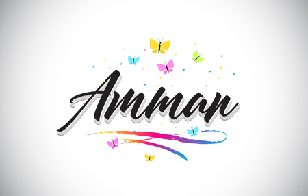 Amman Handwritten Word Text with Butterflies and Colorful Swoosh Vector Illustration Design.