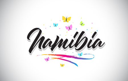 Namibia Handwritten Word Text with Butterflies and Colorful Swoosh Vector Illustration Design.