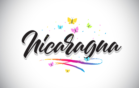 Nicaragua Handwritten Word Text with Butterflies and Colorful Swoosh Vector Illustration Design. 일러스트