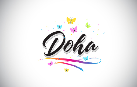 Doha Handwritten Word Text with Butterflies and Colorful Swoosh Vector Illustration Design. Ilustracja