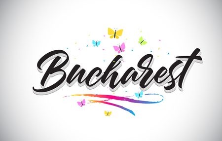Bucharest Handwritten Word Text with Butterflies and Colorful Swoosh Vector Illustration Design.