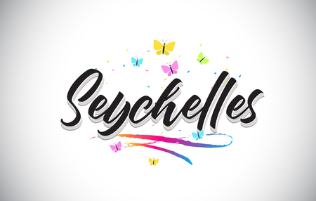 Seychelles Handwritten Word Text with Butterflies and Colorful Swoosh Vector Illustration Design.