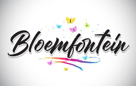 Bloemfontein Handwritten Word Text with Butterflies and Colorful Swoosh Vector Illustration Design.