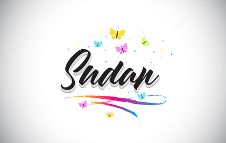 Sudan  Handwritten Word Text with Butterflies and Colorful Swoosh Vector Illustration Design.