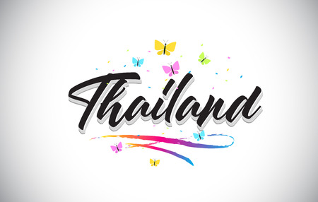 Thailand Handwritten Word Text with Butterflies and Colorful Swoosh Vector Illustration Design.