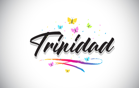 Trinidad Handwritten Word Text with Butterflies and Colorful Swoosh Vector Illustration Design.