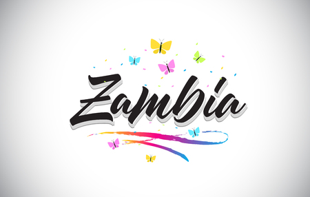 Zambia Handwritten Word Text with Butterflies and Colorful Swoosh Vector Illustration Design.