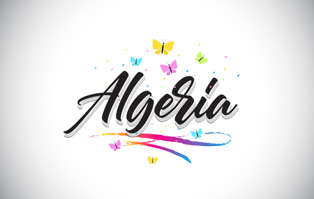 Algeria Handwritten Word Text with Butterflies and Colorful Swoosh Vector Illustration Design.
