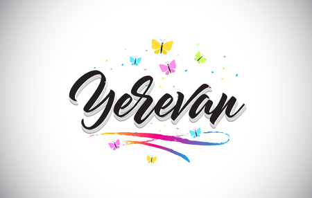 Yerevan Handwritten Word Text with Butterflies and Colorful Swoosh Vector Illustration Design. Stock Vector - 124781508