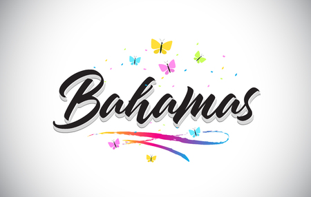 Bahamas Handwritten Word Text with Butterflies and Colorful Swoosh Vector Illustration Design.