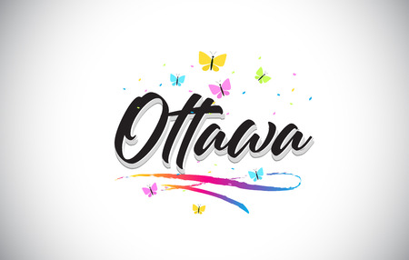 Ottawa Handwritten Word Text with Butterflies and Colorful Swoosh Vector Illustration Design. 벡터 (일러스트)