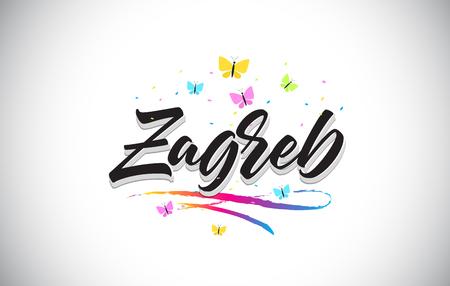 Zagreb Handwritten Word Text with Butterflies and Colorful Swoosh Vector Illustration Design.