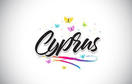 Cyprus Handwritten Word Text with Butterflies and Colorful Swoosh Vector Illustration Design.
