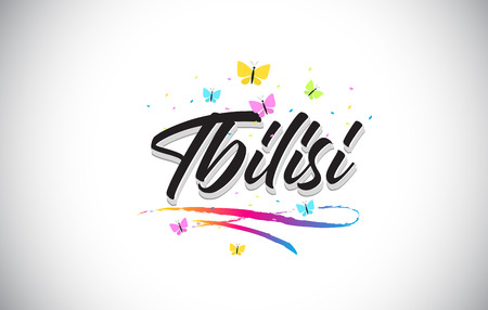 Tbilisi Handwritten Word Text with Butterflies and Colorful Swoosh Vector Illustration Design.