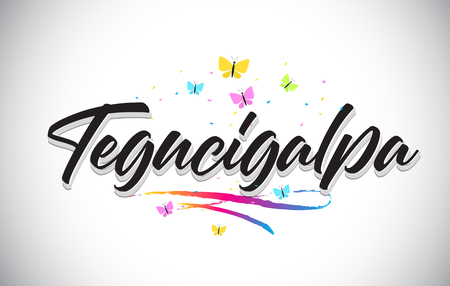 Tegucigalpa Handwritten Word Text with Butterflies and Colorful Swoosh Vector Illustration Design.