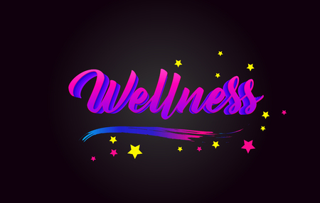 Wellness Purple Handwritten lettering typography. Creative Word for logotype, badge, icon, card, postcard, logo, banner with colorful Stars and Swoosh Vector Illustration Design.