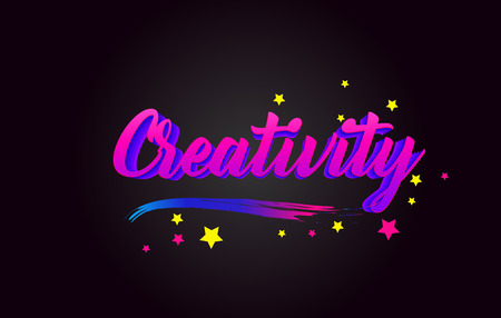 Creativity Purple Handwritten lettering typography. Creative Word for logotype, badge, icon, card, postcard, logo, banner with colorful Stars and Swoosh Vector Illustration Design.