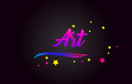 Art Purple Handwritten lettering typography. Creative Word for logotype, badge, icon, card, postcard, logo, banner with colorful Stars and Swoosh Vector Illustration Design.