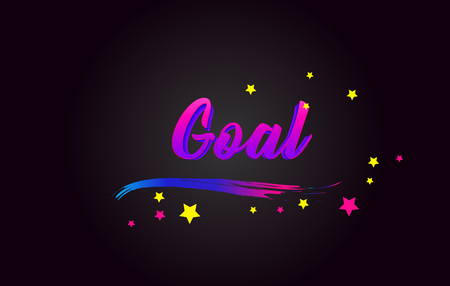 Goal Purple Handwritten lettering typography. Creative Word for logotype, badge, icon, card, postcard, logo, banner with colorful Stars and Swoosh Vector Illustration Design. Stock Illustratie